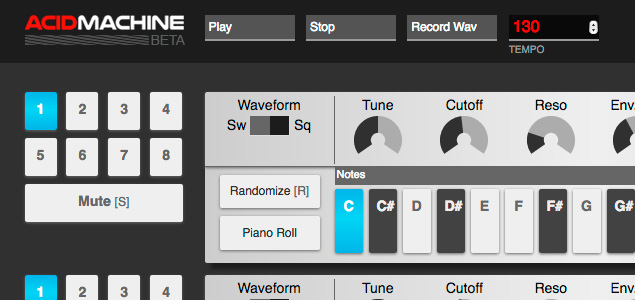 Crea ritmos en tu navegador con la aplicación Acid Machine